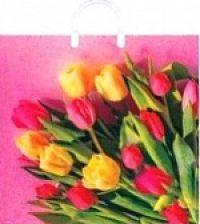 """Пакет с пласт.руч. 38х35 (100мк) в/д """"Царственные тюльпаны"""" (5/150) (Арт)"""