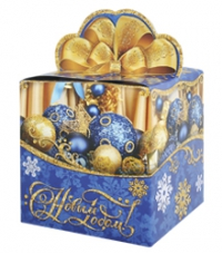 """Подарочная упаковка  400г из картона """"Синие шары""""  /300"""