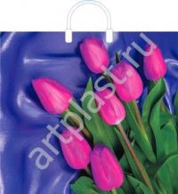 """Пакет с пласт.руч. 36х45 (100мк) в/д """"7 тюльпанов"""" (10/150) (Арт)"""