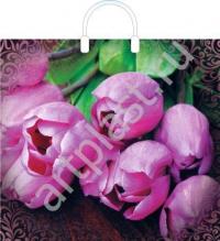 """Пакет с пласт.руч. 38х35 (100мк) в/д """"Дивные тюльпаны"""" (5/150) (Арт)"""