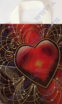 """Пакет с пет.руч. 25х30 (50мк) ламинат """"Красное сердце"""" (25/1000)"""
