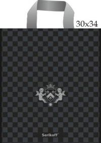 """Пакет с пет.руч. 30х34 (90мк) в/д """"Ангел"""" черный+серебро (50/700)"""
