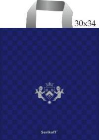"Пакет с пет.руч. 30х34 (90мк) в/д ""Ангел"" синий+серебро (50/700)"