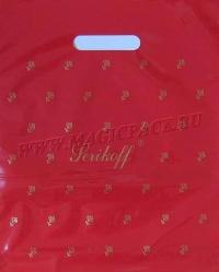"""Пакет с выруб. руч. 30х37 (90мк) в/д """"Подарочный"""" красный 50/1000"""