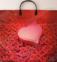 """Пакет с пласт. ручкой 35*38 """"Розы и сердце"""" 10/100 (Магик)"""