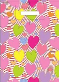 "Пакет с выруб.руч. 30х40 (40мк) в/д ""Красочные сердечки"" (50/500) (Арт)"