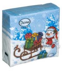 Салфетка бумажная 1сл. 25х25см  НГ DESIGN Снеговик с подарками 40л/уп/105