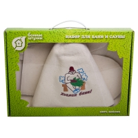 """Набор для сауны (шапка Хозяин бани, коврик, рукавица)""""Банные штучки""""  арт.41084"""