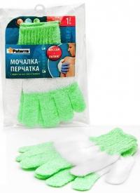 """Мочалка-перчатка """"Paterra"""" с эффектом массажа и пилинга 12*18см (408-009) /60"""