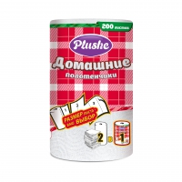 Полотенца бумажные Plushe Домашие 2-сл.1/2листа белые 25м 1рул/уп/18