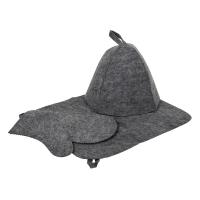 "Набор для сауны серый (Шапка+коврик+рукавица) ""HotPot"" арт.41184 /20"